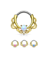**BLOW OUT SALE**  Surgical Steel/Brass Gold IP Plated Septum Clicker Helix Nose Ring Hoop Opal 16G