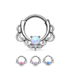 **BLOW OUT SALE**  Rhodium Plated Brass Septum Clicker Helix Nose Ring Hoop Opal 16G