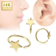 "**BLOW OUT SALE** 14KT Yellow Gold Nose Ring Hoop Daith Ear Cartilage 5/16"" - 7.9mm Star 20G"