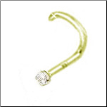 18KT Gold Nose Screw 1.5mm CZ 20G