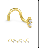 14K Yellow Gold Nose Screw 2 Stone -Choose Your Style