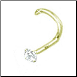 18KT Gold Nose Screw 2mm CZ 18G
