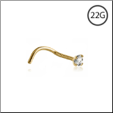 18KT Gold Nose Screw 1.5mm CZ 22G