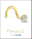 Yellow Gold Nose Jewelry 3mm Square CZ -Choose Your Style