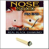14KT Gold Nose Stud, Pin, Genuine Black Diamond 1.5mm 22G