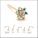 14KT Solid Yellow Gold Nose Stud 4.5mm Blue Aurora AB Flower