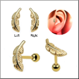 Anodized Gold 316L Surgical Steel Ear Cartilage Earring Helix Tragus Piercing Right or Left Feather