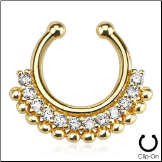 Gold IP Fake Septum Clicker Clip On Non Piercing Clear CZ Nose Ring Hoop Tribal Fan