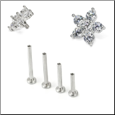 Surgical Steel Labret Style Screw Post Nose Stud 6.5mm Flower