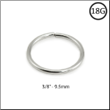 "14KT White Gold Seamless Nose Ring Continuous Hoop 3/8"" - 9.5mm 18G"