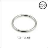 "Nose Ring 14KT White Gold Seamless Continuous Hoop 3/8"" - 9.5mm 20G"