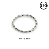 "14KT White Gold Seamless Nose Ring Continuous Hoop Twisted Wire 3/8"" - 9.5mm 18G"
