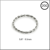 "14KT White Gold Seamless Nose Ring Continuous Hoop Twisted Wire 3/8"" - 9.5mm 20G"