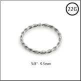 "14KT White Gold Seamless Nose Ring Continuous Hoop Twisted Wire 3/8"" - 9.5mm 22G"