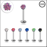 **BLOW OUT SALE** Surgical Steel Labret Monroe Stud Ring 8mm Screw Post Choose Your Opal Star 16G