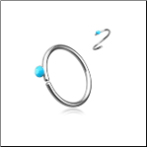 316L Surgical Steel Seamless Annealed Nose Ring Turquoise CZ Hoop 20G