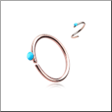 **BLOW OUT SALE** Rose Gold Plated 316L Surgical Steel Seamless Annealed Nose Ring Turquoise CZ Hoop 20G