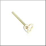 Gold Plated 316L Surgical Steel Pretzel Heart Nose Stud Choose Your Style 20G