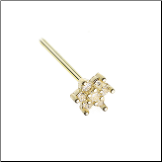 Gold Plated 316L Surgical Steel Clear CZ Flower Nose Stud Choose Your Style 20G