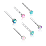 316L Surgical Steel Nose Stud 2mm Opal Gem - Choose Your Style & Color 20G