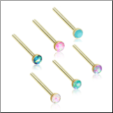 Gold Plated 316L Surgical Steel Nose Stud 2mm Opal Gem - Choose Your Style & Color 20G