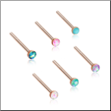 Rose Gold Plated 316L Surgical Steel Nose Stud 2mm Opal Gem - Choose Your Style & Color 20G