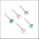 316L Surgical Steel Nose Stud 3mm Opal Gem - Choose Your Style & Color 20G
