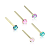 Gold Plated 316L Surgical Steel Nose Stud 3mm Opal Gem - Choose Your Style & Color 20G