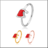 316L Surgical Steel Seamless Nose Ring Helix Daith Ear Cartilage Continuous Hoop Christmas Santa Hat Choose Your Color 20G