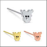 316L Surgical Steel Nose Stud Ring Christmas Reindeer - Choose Your Color & Style 20G