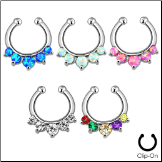 **BLOW OUT SALE** Fake Septum Clicker Hanger Clip On Non Piercing Nose Ring Hoop Clear CZ Opals
