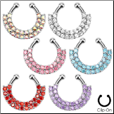 **BLOW OUT SALE** Fake Septum Clicker Hanger Clip On Non Piercing Nose Ring Hoop CZ