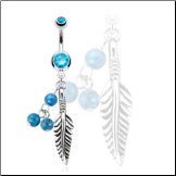 "**BLOW OUT SALE** 316L Surgical Steel Navel Belly Button Ring 3/8"" Feather Semi Precious Turquoise Stone Beads 14G"