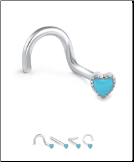 316L Surgical Steel Nose Screw 3.5mm Turquoise Heart 20G
