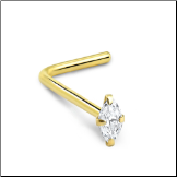 14KT White or Yellow Gold Nose Stud Marquise CZ - Choose Your Gold, Gauge & Style