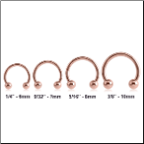 Rose Gold PVD Coated 316L Surgical Steel Horseshoe Curved Barbell CBB 16G