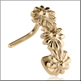 Zircon Gold PVD Coated 316L Surgical Steel Nose Stud Nose Hugger- Choose Your Style Flower 20G