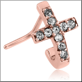 Rose Gold PVD Coated 316L Surgical Steel Nose Stud Nose Hugger- Choose Your Style Cross 20G
