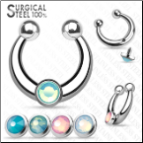 **BLOW OUT SALE** Fake Septum Clicker Hanger Clip On Non Piercing Nose Ring Hoop With 4 Opalite Gem Inserts