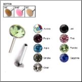 316L Surgical Steel Labret Style Nose Stud Push Pin 4mm Swarovski Gem