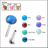 316L Surgical Steel Labret Style Nose Stud Push Pin 2mm Opal Gem