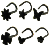 316L Surgical Steel Nose Screw Anodised Black -Choose Your Design 20G