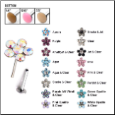 316L Surgical Steel Labret Style Nose Stud Push Pin Flower Gem