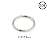 "14KT White Gold Seamless Nose Ring Hoop 5/16"" 20G"