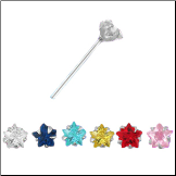 925 Sterling Silver Nose Stud Pin Straight or L Bend 3mm Star CZ 22G