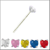 925 Sterling Silver Nose Stud Straight or L Bend -Choose Your Color 3mm Heart CZ 22G