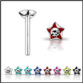 **BLOW OUT SALE** 925 Sterling Silver Nose Stud Straight or L Bend -Choose Your Color Star