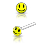 925 Sterling Silver Nose Studs Pins Straight or L Bend Happy Face