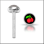 925 Sterling Silver Nose Stud Straight or L Bend 3mm Cherries