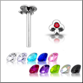 925 Sterling Silver Nose Stud Straight or L Bend -Choose Your Color Clover